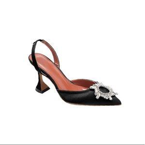 BRAND NEW Black Satin & Crystal Mid Heels